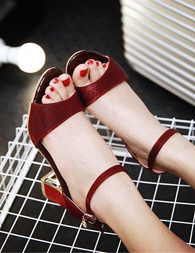 LFNLYX Zapatos de mujer-Tacón Robusto-Tacones-Sandalias-Boda / Vestido / Casual / Fiesta y Noche-Materiales Personalizados-Negro / Rojo / Beige Black