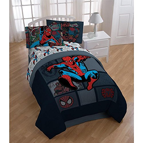 Spiderman Boys Comic Book Twin Comforter & Sheets KM (4 Piece Bed In A Bag) + HOMEMADE WAX MELT