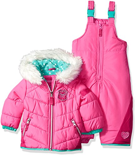 London Fog Baby Girls and Little Girls' Snowsuit With Snowbib and Puffer Jacket, Pink/Turq, 24M