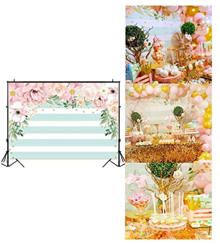 Funnytree 7X5ft Pink and Mint Green Floral Backdrop Stripes Flowers Birthday Party Photography Background Watercolor Gold Sprinkle Bridal Shower Dessert Table Banner Wedding Decorations -