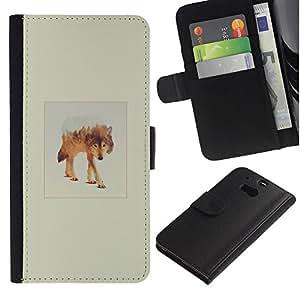 KLONGSHOP // Tirón de la caja Cartera de cuero con ranuras para tarjetas - White Wolf Montaña - HTC One M8 //