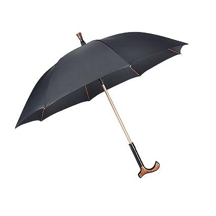 ZHUSAN Paraguas Muleta Ajustable Separación Automática Antideslizante Negro con 8 Costillas Fuerte Gran Plegado para Hombre