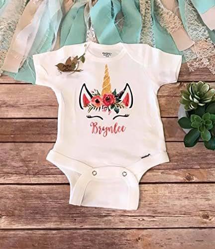 7d561e6f79655 Amazon.com: Custom Unicorn Onesie®, Unicorn Baby Onesie, Baby Girl ...