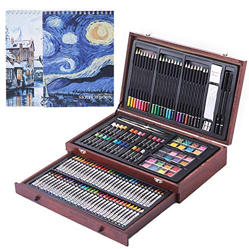 145 Piece Deluxe Art Creativity Set, Art Supplies in Portable Wooden Case- Crayons, Oil Pastels, Colored Pencils, Watercolor Cakes, Sharpener, Sandpaper & 2 x 50 Page Drawing Pad! - Deluxe Art Set