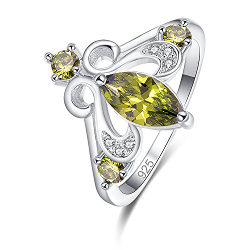 Psiroy 925 Sterling Silver Created Peridot Filled Marquise Cut Tiara Chevron Engagement Ring for Women Size 8