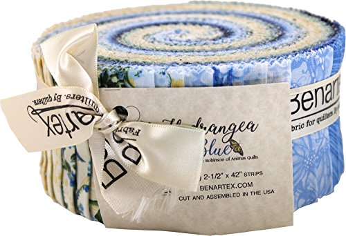 (Jackie Robinson Hydrangea Blue Pinwheel 40 2.5-inch Strips Jelly Roll Benartex)