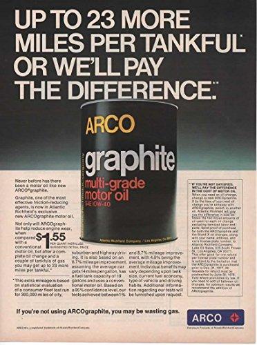Magazine Print Ad: 1977 ARCO Graphite Multi-grade Motor Oil Can,