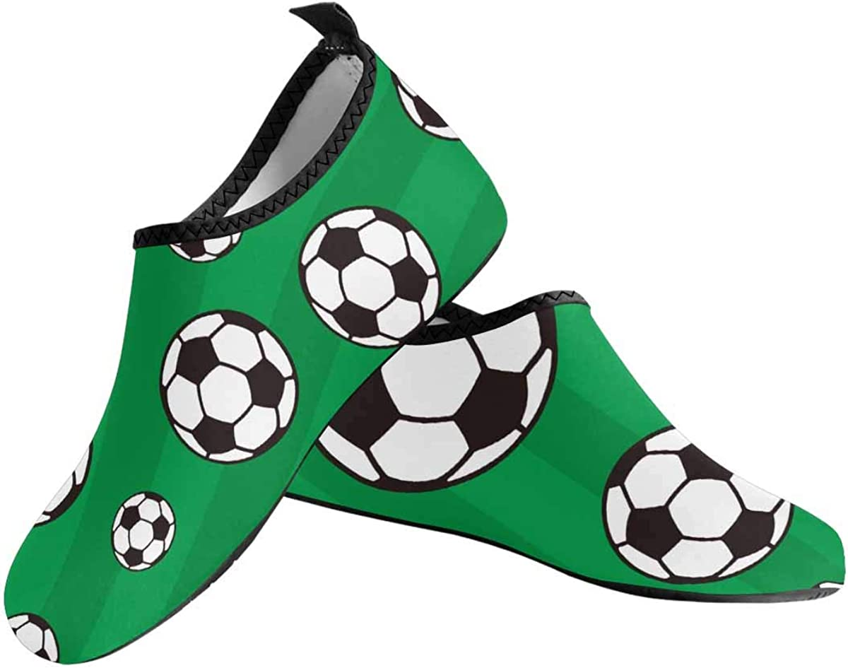 INTERESTPRINT Mens Aqua Water Shoes Soccer Balls Beach Yoga Socks for Surf Swim Water Sport