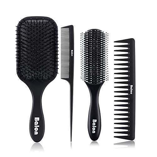 4Pcs Paddle Hair Brush, Detangling Brush and Hair Comb Set for Men and Women, Great On Wet or Dry Hair, No More Tangle Hairbrush for Long Thick Thin Curly Natural Hair (Black) (Best Comb For Men's Hair)