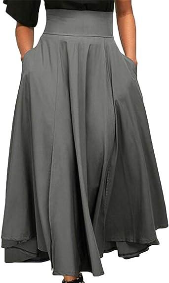 Frieed Falda de Cintura Alta con Bolsillos clásicos con Pliegues ...