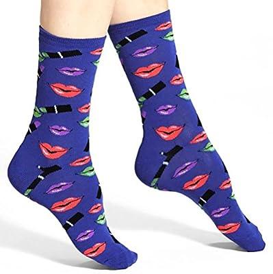 Hot Sox 'Lipstick' Crew Socks Royal Blue Neon Color Women's Shoe Size 4-10.5