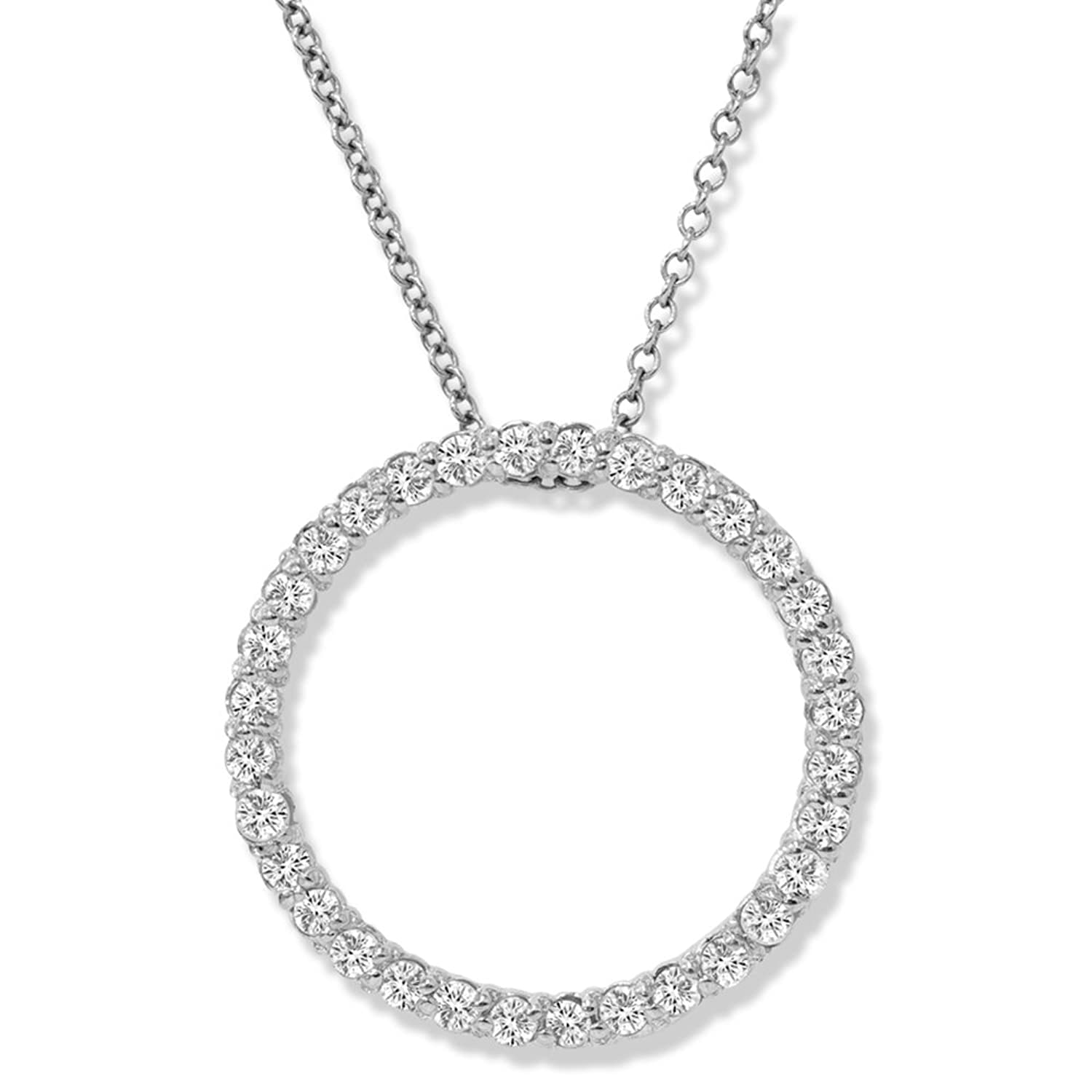 Amazon 14K White Gold 1 2ct Circle Life Diamond Pendant