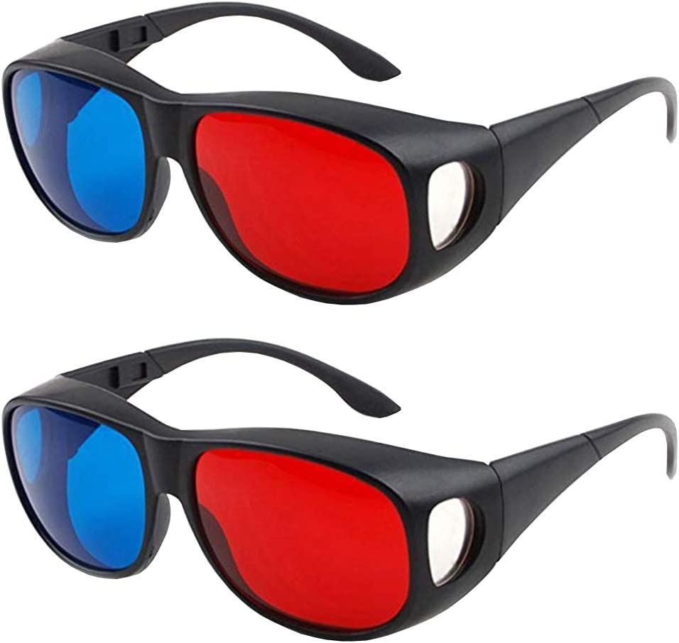 Solarson 2 Pairs 3D Glasses for Movies on TV, Red Blue 3D Glasses with Case and Clean Cloth for All 3D Movies Games Light Simple Design