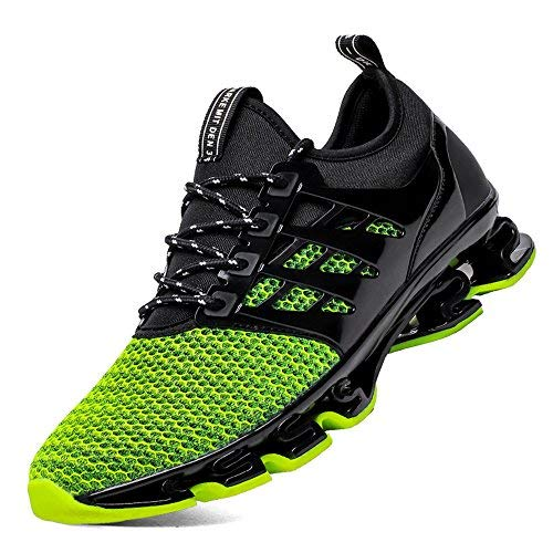 Boys 7 Youth Shoes Black and Green Big Boys Tennis Springblade Sport Running Shoes for Mens Mesh Fashion Breathable Trail Runners Sneakers Green Size 7 (8066-Green-40)