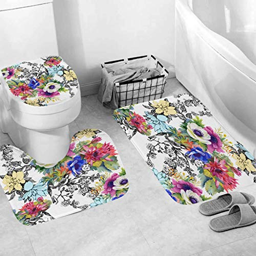 Kitt 3pcs Non-Slip Bath Mat Toilet Mat Bathroom Mat Set Kitchen Carpet Rug Doormats Decor, Colorful and Beautiful Cactus Flower Bathroom Mats and Rugs (D)