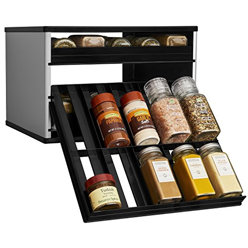 - YouCopia Chef's Edition SpiceStack 30-Bottle Spice Organizer with Universal Drawers, Silver