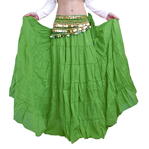 AvaCostume Tribe Gypsy Bohemian Vintage Solid Color Crinkle Maxi Skirt Belly Dance Green