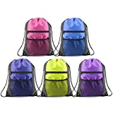 Unisex Drawstring Backpacks Bags Bulk 5 Pack, Sports Gym Bags Cinch Bags with Zipper and Mesh Pockets