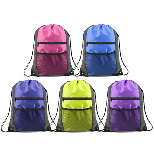 Unisex Drawstring Backpacks Bags Bulk 5 Pack, Sports Gym String Bag Cinch Sackpack with Zipper and Mesh Pockets ()