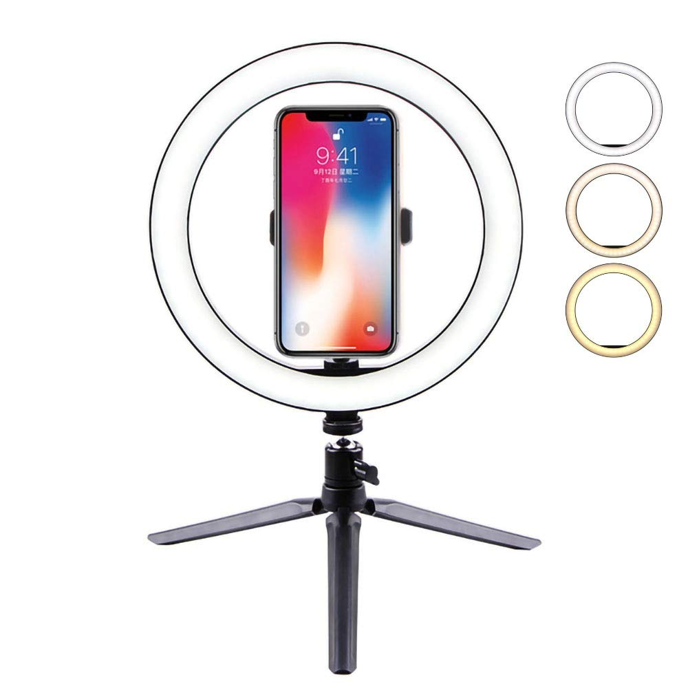 10.2'' Selfie Ring Light with Tripod Stand &Cell Phone Holder Desktop Lamp Mini Led Camera Light for YouTube/TikTok Video and Live Makeup/Photography/12W