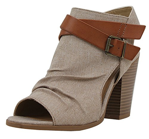 Open Back Ankle Boots (Cambridge Select Women's Open Toe Crisscross Strap Ruched Vamp Buckle Side Cutout Slingback Chunky Stacked Heel Ankle Bootie,8.5 B(M) US,Light Taupe/Tan Linen)