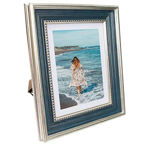 Beyond Your Thoughts 8x10 Picture Photo Frame Antique with Matted for 5X7 Blue Color(Not Glass), Vertical or Horizontal, Table Top and Wall Mounting Display