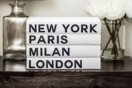 Decorative Books, Fashion Books, Fashion Design, New York, London, Paris, Milan, Fashion Cities, Black White Books, Book Decor, Vogue, Chanel, Fashion Designer, Fashion Decor, Coffee Table Books