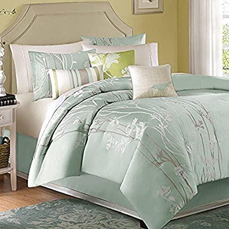 Athena Madison Park Stylish Premium Quality Elegant Green Blue 7 Piece King Size Comforter Set 1 Comforter 2 Shams 1 Bed Skirt And 3 Accent Pillows