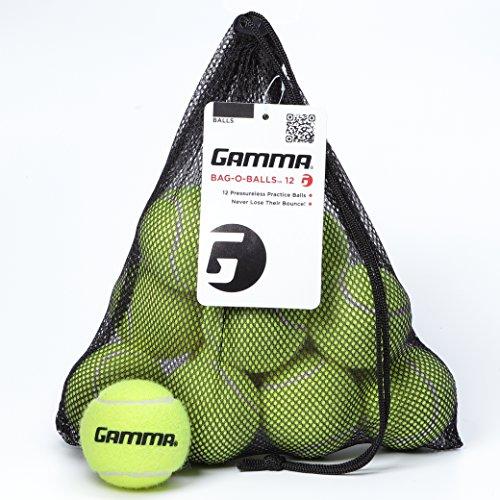 Gamma Bag of Pressureless Tennis Balls - Sturdy & Reuseable Mesh Bag with Drawstring for Easy Transport - Bag-O-Balls (12-pack of balls, Yellow)