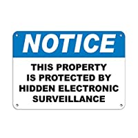 Cheyan Personalized Metal Signs Protected Property By Hidden Electronic Surveillance Aluminum METAL Sign 8 X 12 Inch