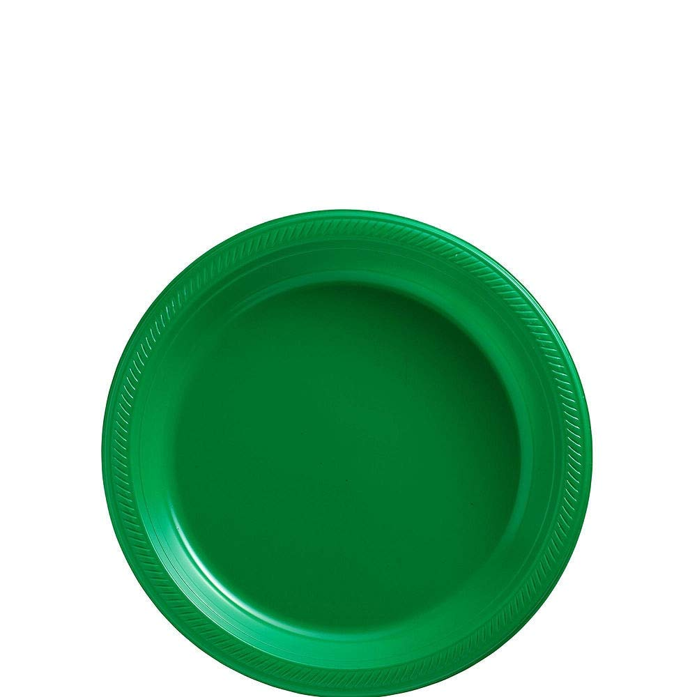 Amscan Festive Green Plastic Tableware Kit for 50 Guests, Party Supplies, Includes Table Covers, Plates, Cups and More by amscan (Image #2)