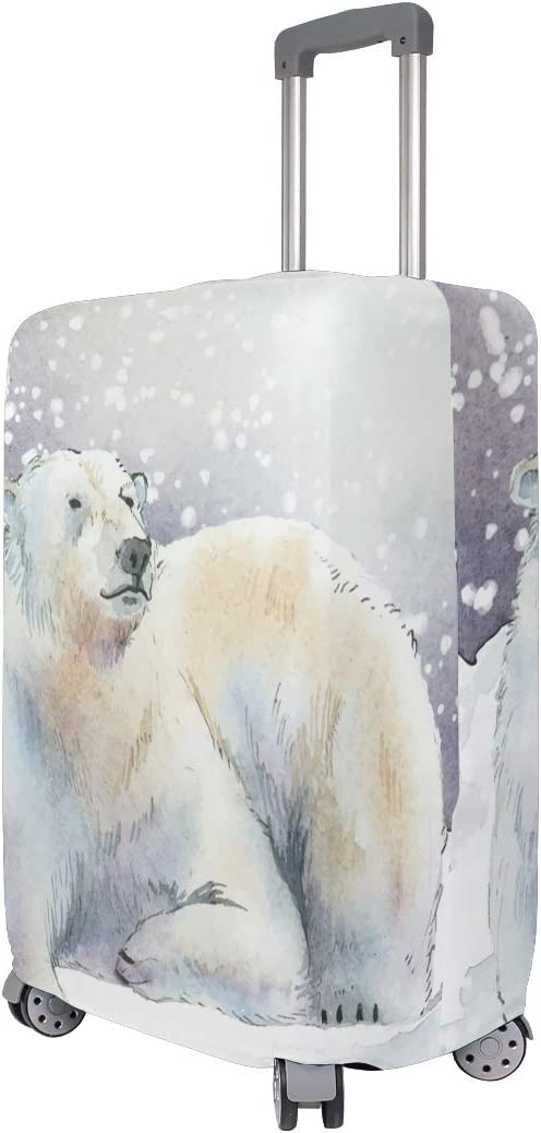 FOLPPLY Winter Snow Animal Polar Bear Luggage Cover Baggage Suitcase Travel Protector Fit for 18-32 Inch