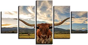 Whian 5Pcs/Set Modern Painting Canvas Wall Canvas Art Prints Posters Decor Bedroom Home Decorations Longhorn Cow 80/60/40x30CM Frameless
