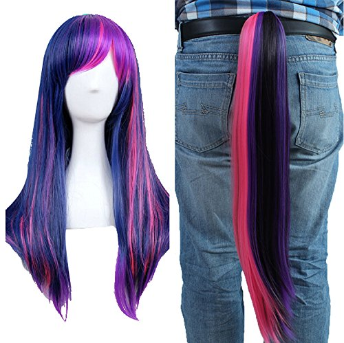 Anogol Free Cap + Purple Mix Pink Cosplay Wig with Ponytail for Cosplay Costume Party -
