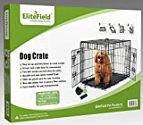 EliteField 2-Door Folding Dog Crate with RUBBER FEET, 5 Sizes, 10 Models Available (2-Door Crate, 30'' L x 21'' W x 23'' H)