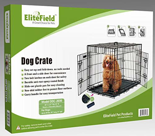 EliteField 2-Door Folding Dog Crate with RUBBER FEET, 5 Sizes, 10 Models Available (2-Door Crate, 30