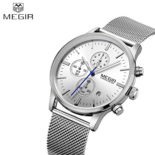 Men's Stainless Steel Mesh Band Analog Quartz Date Chronograph Watch M0Y9
