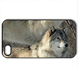 2 Wolves in the Snow - Case Cover for iPhone 4 and 4s (Dogs Series, Watercolor style, Black)