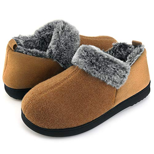 ULTRAIDEAS Women's Cozy Memory Foam Slippers with Warm Plush Faux Fur Lining, Wool-Like Blend Micro Suede House Shoes with Anti-Slip Indoor Outdoor Rubber Sole Tan