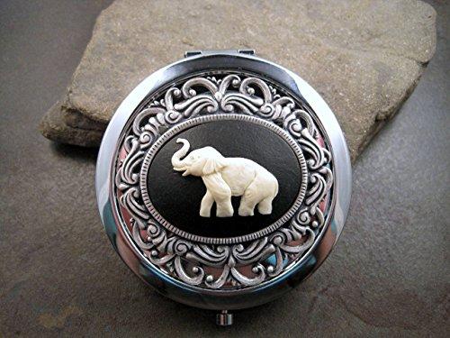 (Handmade Elephant Cameo Compact Mirror)