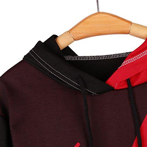 Hoodie Rosso Donna Felpe Grande Tops Lunghe Maniche Eleganti Cappuccio Ragazza Canguro Grandi Con Tasca Sweatshirt Beautyjourney Tumblr Top qzxtwRTtd
