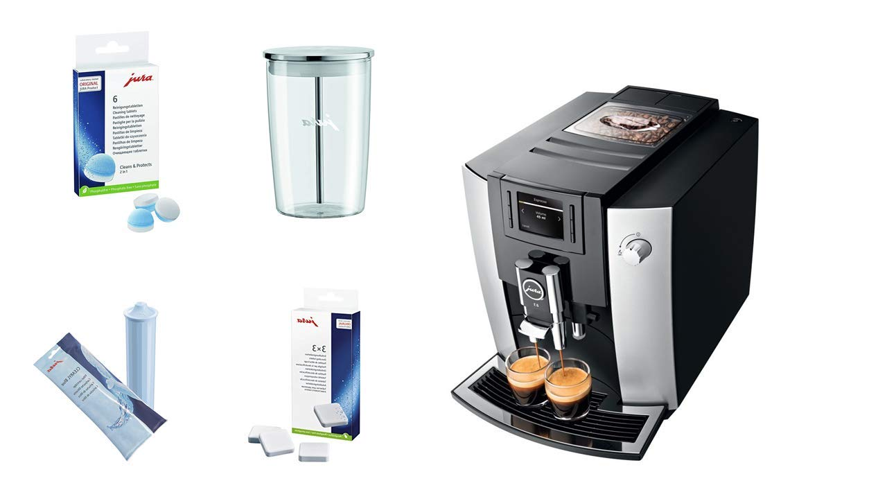 Jura 15070 E6 Automatic Coffee Center, Platinum, Promotional Bundle. by Jura