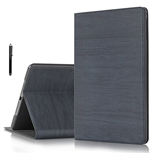 ProElite Wood Texture Smart Flip Case Cover for Apple iPad Air 2 [Dark Blue] + Stylus Pen