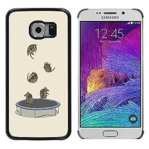 TopCaseStore / la caja del caucho duro de la cubierta de protección de la piel - Trampoline Funny Cartoon Cute Animals - Samsung Galaxy S6 EDGE SM-G925