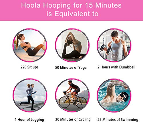 Hula Hoop, KilYn Exercise Fitness Hoola Hoop Thicker Foam Hula Hoop for Adults Kids, 6/7/8 Sections Parts Assembled Detachable Adjustable Hula Hoop for Weight Loss, Thin Waist (Pink)