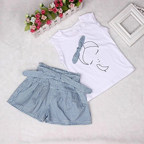 43a1ac15f3851 Hot!!! for 2-7 Years Old Girls Clothes Set, Kids Girls Cute Bow Girl  Pattern Shirt Top Grid Shorts Set Clothing