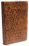 Leather Writing Journal Brown - Last Minute Deals - Handmade Personal Notebook - Embossed Leather Floral Leaf & Vine Motif Detail - Travel Diaries