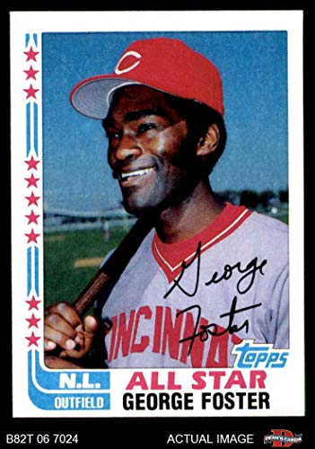 1982 Topps # 342 A All-Star George Foster Cincinnati Reds (Baseball Card) (With Printed Autograph) Dean's Cards 8 - NM/MT Reds