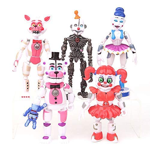 hhh Set 5 FNAF Action Figures 4 - 6.3 inch Hot Toys Foxy Bonnie Freddy Bear Mini Small Cute Figure Sister Location Toy Christmas Halloween Collectable Gift Gifts Collectible Collectibles for Kids ()