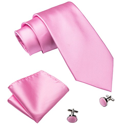 Barry.Wang Solid Color Pink Ties for Men Set with Hanky - Pink Male Color